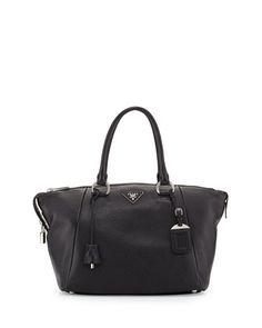 Vitello Daino Satchel Bag, Black (Nero) by Prada at Bergdorf Goodman.