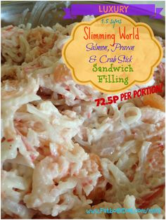 Wicked slimming world friendly, smoked salmon, crab stick & prawn sandwich filling.    Prepared in bulk for the week, costing only 72p and 1.5 syns a portions you can't go wrong! Check out the recipe now! http://www.fatboysdiet.com/mix3