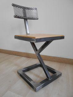 Chaise design metal brut bois style industriel artisanal unique
