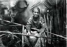 Clara Darden, sole surviving Chitimacha practitioner of the intricate double-weave technique producing a basket in two continuous layers of river cane, one inside the other. (at the reservation at Charenton, in the isolated bayous west of New Orleans)