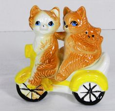 Vintage Ceramic Salt & Pepper Shakers Cat Family on Tricycle Moped Blue Eyes Dan