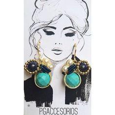 PG #pgaccesorios #chapadeoro #goldplated #handmade #hechoamano #hechoenmexico #handmadejewerly #jewerly #diseñomexicano #aretes #earrings #turquesa #lapizlasuli #perlas