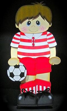 3D On the Shelf Card Kit Football Boy Brian on Craftsuprint designed by Carol Clarke - made by Cynthia Massey - Printed onto 250gm card and followed the very easy instructions, decoupaged with foam pads, an amazing design which is so simple to put together and looks fabulous, has a matching envelope, I just added shore laces and small red buttons. - Now available for download!