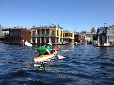 Kayaking around Seattle floating homes,  USA