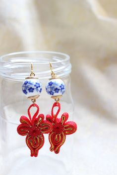 Blue and White Porcelain and Red Chinese Knot Dangle by CungYung, $21.00