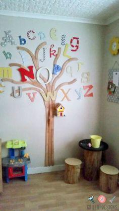 Upcycle kids' train tracks into an alphabet tree for wall art in their bedroom. Preschool Decor, Preschool Rooms, Preschool Classroom, In Kindergarten, Diy Classroom Decorations, School Decorations, Home Daycare, Church Nursery, Train Tracks
