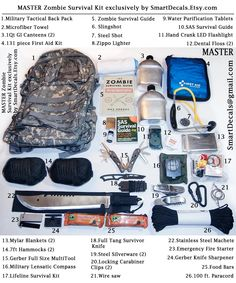 Zombie Apocalypse Survival Kit MASTER Necessities Military Outbreak 2 Person. $299.99, via Etsy.