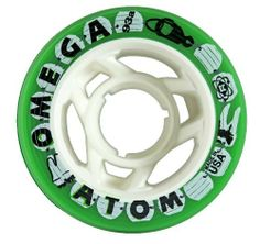 Atom Omega Green Quad Indoor Roller Skate Wheels - 93A Hardness for Roller Derby Skates by Atom Wheels. $39.00. Durometer/Hardness - 93A. Number of Wheels - Select a set of 8 wheels for one pair of skates or choose 4 wheels to mix and match!. Size - 62mm x 38mm. Atom Omega Green Quad Indoor Roller Skate Wheels - 93A Hardness for Roller Derby Skates - The Omega has become the wheel of choice among jammers. The narrow profile (62mm x 38mm) allows for very nimble maneuveri...