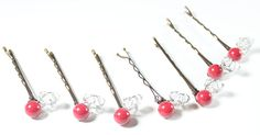 7 Red Coral Pearl & Silver Crystal Hairpin Set, light grey, gray, apple red, merlot, tomato, cherry, bordeaux, marsala, hair jewelry sets