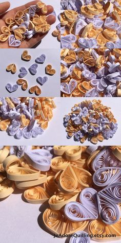 Hearts Beige Cream White Table Confetti Dinner Ornaments Baby Bridal Shower Party Decorations Gift Fillers Party Confetti Paper Quilling Art