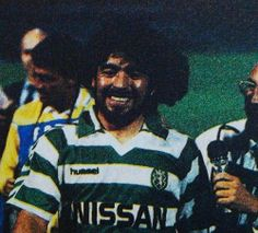 DIEGO MARADONA, wearing a Sporting shirt after a game vs Napoli