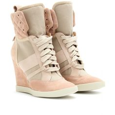 "Blush suede leather and tonal camel canvas high-top wedge sneakers with a quilted upper. Padded canvas tongue with cream flat laces. Light mauve leather trim with matching pull-tab and gold-toned logo stamp in the back. Leather upper, insole. Textured rubber sole. Upper: Calf leather 90mm-3.75"" heel Designer color name: Taupe"