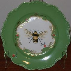 Anthropologie Nature Table French Country Green White Bee Dessert Plate | eBay