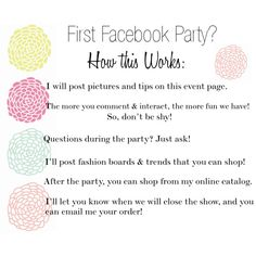 "Facebook Party ""How this Works"" www.mythirtyone.com/574303"