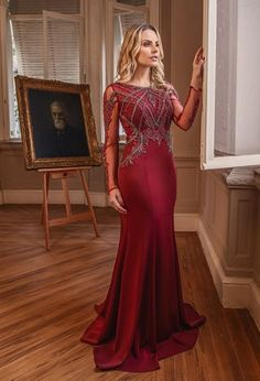 Vestido de festa com manga longa 2018 Formal Gowns, Formal Wear, Red Wedding Dresses, Prom Dresses, Trendy Dresses, Fashion Dresses, Mermaid Gown, Floral Chiffon, Beautiful Gowns