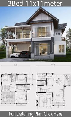 Home design plan with 3 bedrooms. A modern tropical style house with a unique gable roof style resort But elegant, modern style Add warmth to Duplex House Plans, Bedroom House Plans, New House Plans, Dream House Plans, House Floor Plans, New Modern House, Modern House Design, Architectural Design House Plans, Architecture Design