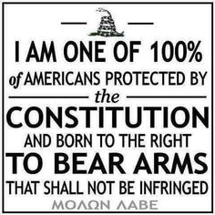 I Am One Of The 100%   Of Americans Protected By   The   Constitution   And Born To   The Right To Bear Arms   That Shall Not Be Infringed  Molon Labe