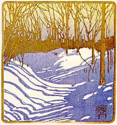 Walter J. Phillips (1884-1963) Winter Sunshine, 1919 colour woodcut on paper (first state; edition unknown) 10.7 x 10 cm (via #50 - Winter Sunshine)