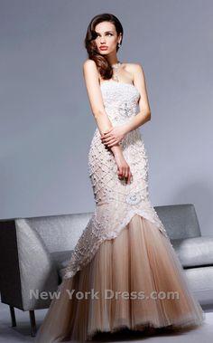 Sherri Hill Pearled Mermaid Evening Gown