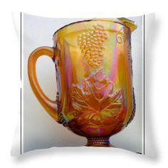 lusterware | Vintage Peach Lusterware Pitcher Throw Pillow by Barbara Griffin