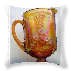 lusterware   Vintage Peach Lusterware Pitcher Throw Pillow by Barbara Griffin