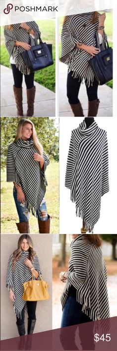 EMMALEE cowl neck poncho - BLACK Striped asym hem poncho with fringe detail and cowl neck. Super fun and stylish!   100% soft Acrylic   🚨🚨NO TRADE, PRICE FIRM🚨🚨 Bellanblue Accessories