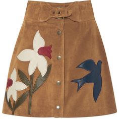 Red Valentino Suede Macroflower Embroidered Skirt (£905) ❤ liked on Polyvore featuring skirts, bottoms, a line skirt, brown skirt, high-waist skirt, suede skirt and button down skirt