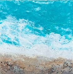 The Beach, encaustic ocean painting by Lee Anne LaForge | Effusion Art Gallery + Cast Glass Studio, Invermere BC Bear Paintings, Cute Paintings, Lake Painting, Encaustic Painting, Lake Art, Cast Glass, Canadian Artists, Winter Landscape, Beach Art