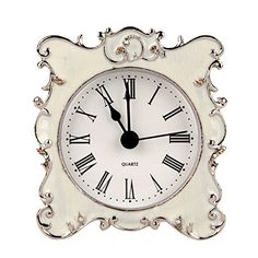 NIKKY HOME Pewter Pretty Small and Cute Table Clock with Quartz Analog Crystal Rhinestone 3 Inch for Living Room Bathroom Decoration , White Enamel #ad shabby chic, vintage