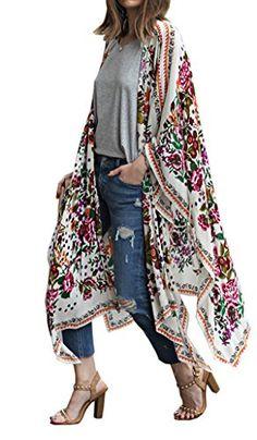 abd22dea445ee2 New Hibluco Women s Sheer Chiffon Floral Kimono Cardigan Long Blouse Loose  Tops Outwear online.