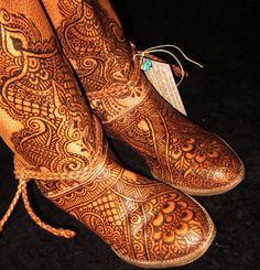 CUSTOM ORDER Mehndi Henna Burned Women's Leather Boots, Clogs, Shoes