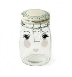 Bote de cristal con cierre bridaydiseño de cara con los ojos abiertos de Miss Étoile.