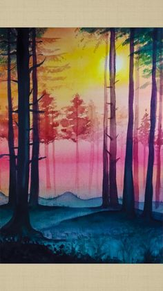 How to draw pink style forest landscape step by step tutorial for beginner Abstract Tree Painting, Easy Canvas Painting, Forest Painting, Canvas Art, Thumb Painting, Sillouette Painting, Forest Drawing, Bridge Painting, Pour Painting