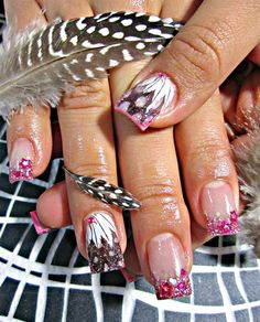 Take Flight: Pink Sparkles Feathered Nails