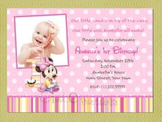 Baby Minnie Mouse Birthday Invitation by GigglePrintables on Etsy, $10.00