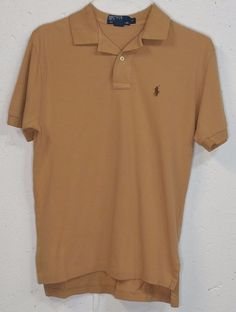 Polo Ralph Lauren Mens Tan Brown Pique Cotton Short Sleeve Polo Shirt Small S #PoloRalphLauren #PoloRugby