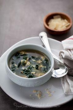 Kale Egg Soup from Gourmande in the Kitchen Winter Greens and Egg Soup | Stracciatella, Aigo Boulido