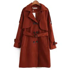 Chicnova Fashion Solid Notch Lapel Trench Coat (€32) ❤ liked on Polyvore featuring outerwear, coats, trench coat, red coat, red trench coat and red trenchcoat