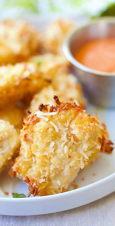Parmesan Baked Chicken Nuggets – crispy chicken nuggets with real chicken, no frying. Easy, yummy & amazing!! | rasamalaysia.com