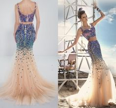 Find More Prom Dresses Information about 2015 Sexy Party Dresses Heavy Crystal Shiny Two Piece Evening Gown Sleeveless Spaghetti Strap Mermaid Lovely Evening Dresses ,High Quality gown red,China dress piece Suppliers, Cheap dress wedding gown from Amanda's Dress House on Aliexpress.com