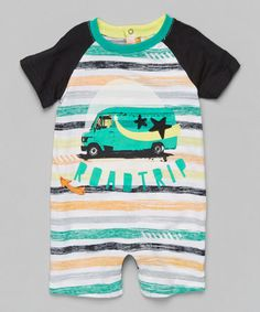 This Peacock Green Stripe 'Road Trip' Romper - Infant is perfect! #zulilyfinds