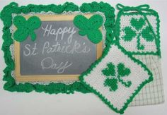 Celebrate the Irish Holiday with this easy to crochet Shamrock Kitchen Set which includes Towel Topper, Potholder and Chalkboard. All are made out of worsted weight yarn.
