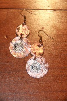 Cooper handmade  circle Earrings by Violetastore on Etsy, $20.00