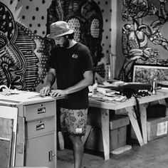Film Friday | Waikapu  More film from the recent batch development. This is homie @greggkaplan who leaves the most unreal voicemails btw mid process at the @platelunchspecial studio in roots Waikapu Central Maui. These dudes have such a rad zone decorated with not only their own projects but art from all their friends for inspo like the murals just behind Gregg by @zioziegler. Gregg was working on the #MadCat graphic for @super_brand in this photo.  #Canon #AE1Program #FilmIsNotDead…
