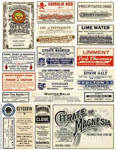 Vintage Medical Pharmacy Poison Labels Set 2 by TheOldDesignShop Vintage Labels, Vintage Ephemera, Vintage Ads, Vintage Images, Vintage Witch, Printable Labels, Printables, Image Deco, Etiquette Vintage