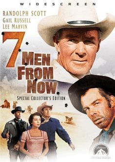 7 Men from Now, 1956 - Directed by Budd Boetticher. With Randolph Scott, Gail Russell, Lee Marvin, Walter Reed. A former sheriff blames himself for his wife's death during a Wells Fargo robbery and vows to track down and kill the seven men responsible. Western Film, Great Western, Western Movies, Movie Talk, I Movie, Sheriff, Wells, Randolph Scott, Lee Marvin