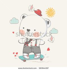 cute baby bear on skateboard. hand drawn vector illustration.can be used for baby's T-shirt print design, kids wear, baby shower card,celebration card, greeting card, invitation card