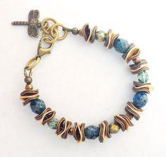 Bracelet retro Victorian style  mottled blue by ShereesTrinketBox