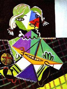 Niña maya con bote de Pablo Picasso cubism portrait