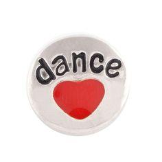 1 PC - 12MM Dance Heart Red Enamel Candy Snap Charm Silver Tone ks6062-s CC2731